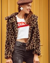 kısa leopar kürk ceket sk36045