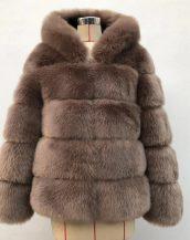 kahverengi kapüşonlu suni kürk ceket sk36722