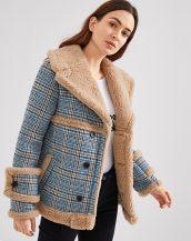 mavi ekose desenli içi kürklü ceket sk36098
