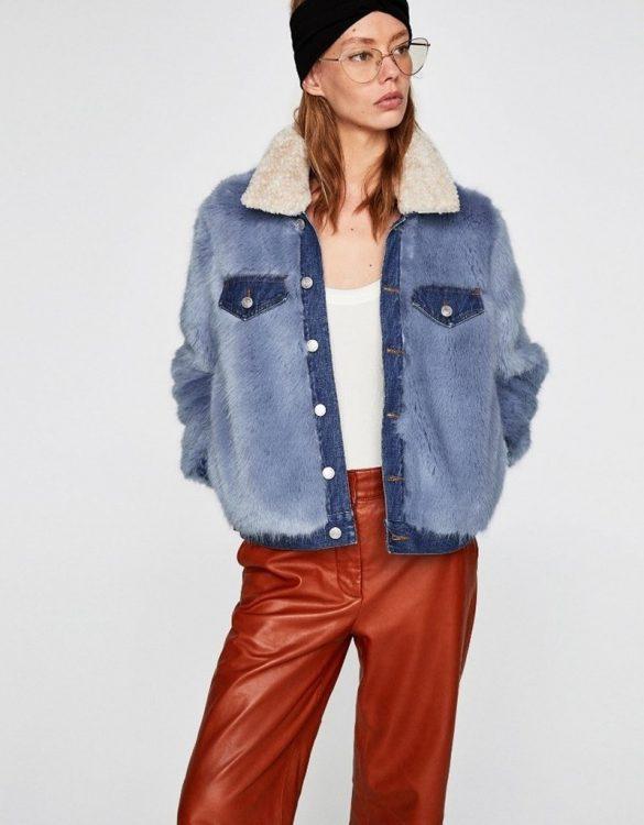 mavi yakalı suni kürk ceket sk36747