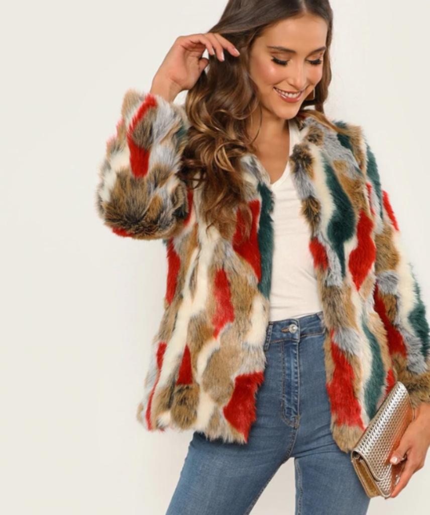 renkli yakasız kürk ceket sk36082