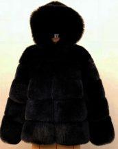 siyah kapüşonlu suni kürk ceket sk36722