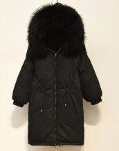 siyah rakun kürklü uzun parka sk36377