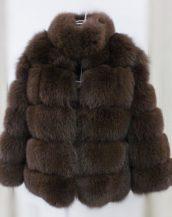 kahverengi yakalı kabarık kürk ceket sk37249
