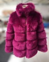 vişne çürüğü yakalı kabarık kürk ceket sk37249