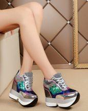gri payetli gizli topuk bayan ayakkabı sk37494
