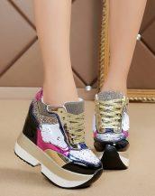 siyah payetli gizli topuk bayan ayakkabı sk37494