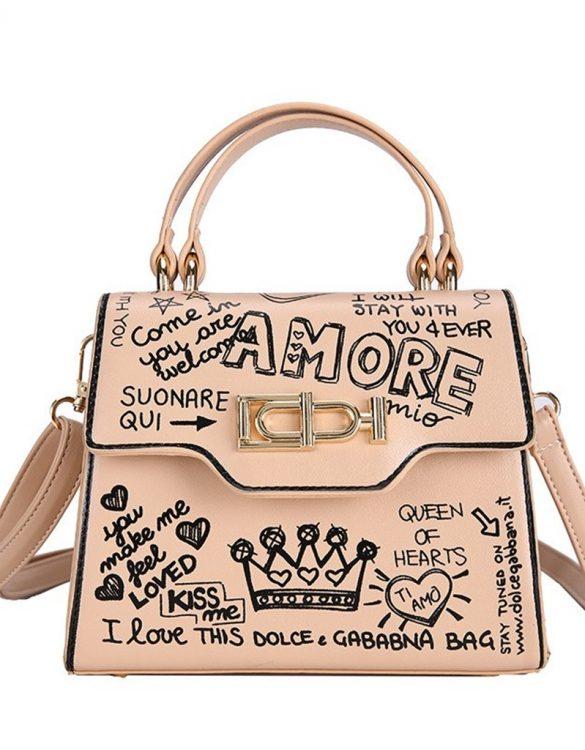 krem baskılı mini tote çanta sk39508
