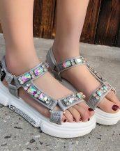 gri taşlı kalın taban spor sandalet sk40262