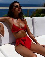kırmızı push up yüksek bel bikini sk40162