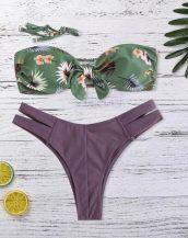 mor yeşil straplez desenli bikini sk40222