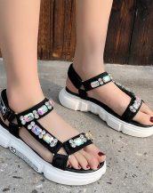 siyah taşlı kalın taban spor sandalet sk40262