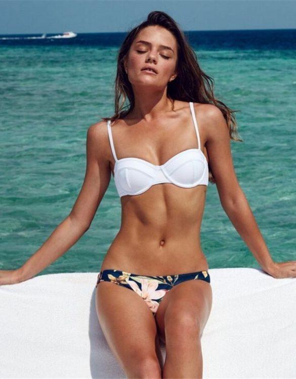 beyaz altı desenli bikini takımı sk41029