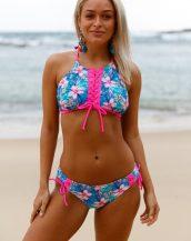 renkli ip detaylı desenli bikini sk41041