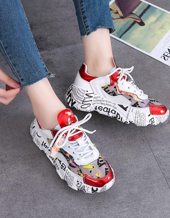 kırmızı baskılı kalın taban spor ayakkabı sk41445