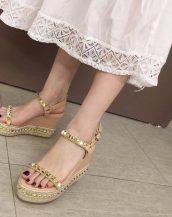 krem zımbalı platform sandalet sk41489