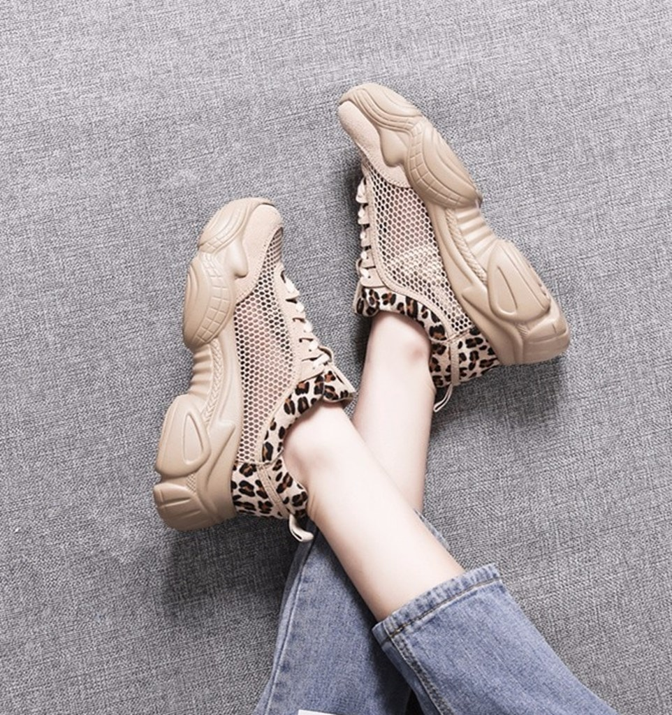 leopar file detaylı spor ayakkabı sk41506