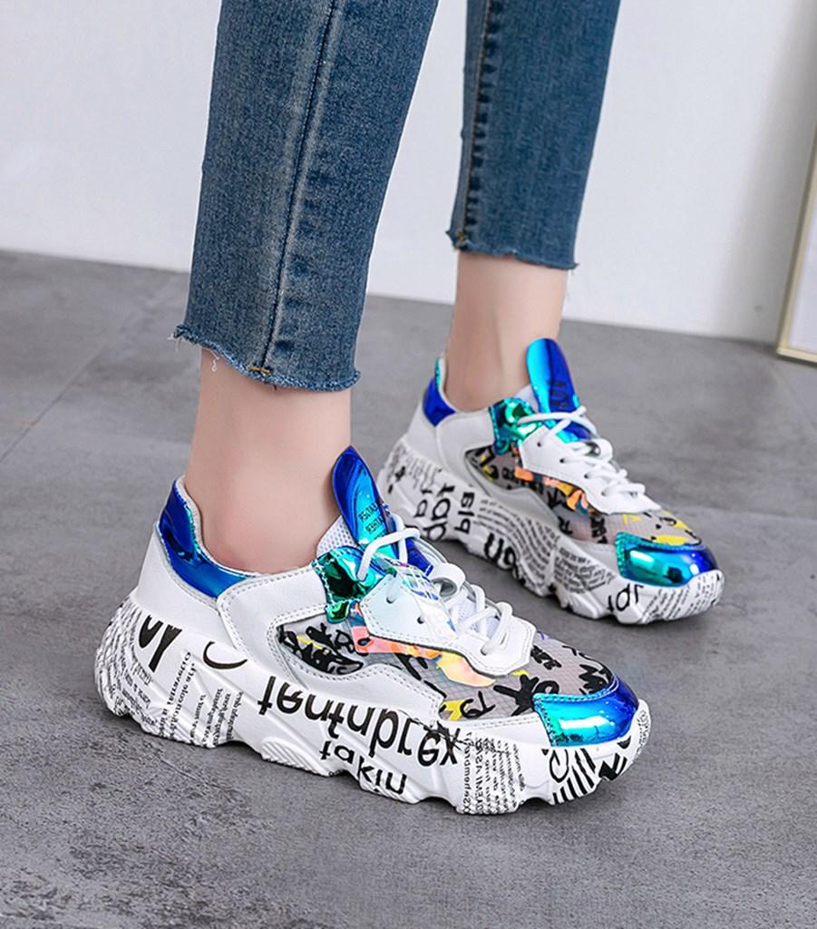 mavi baskılı kalın taban spor ayakkabı sk41445