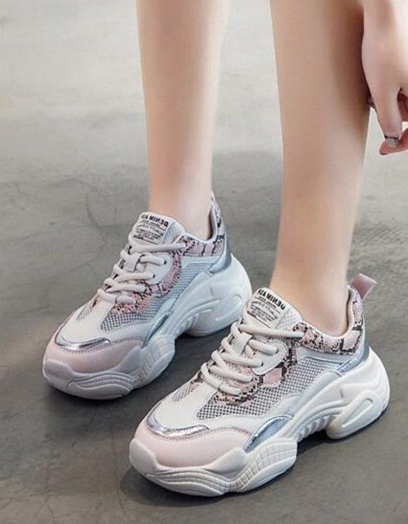 pudra beyaz yılan desen detaylı spor ayakkabı sk41512