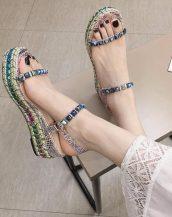 renkli zımbalı hasır sandalet sk41501