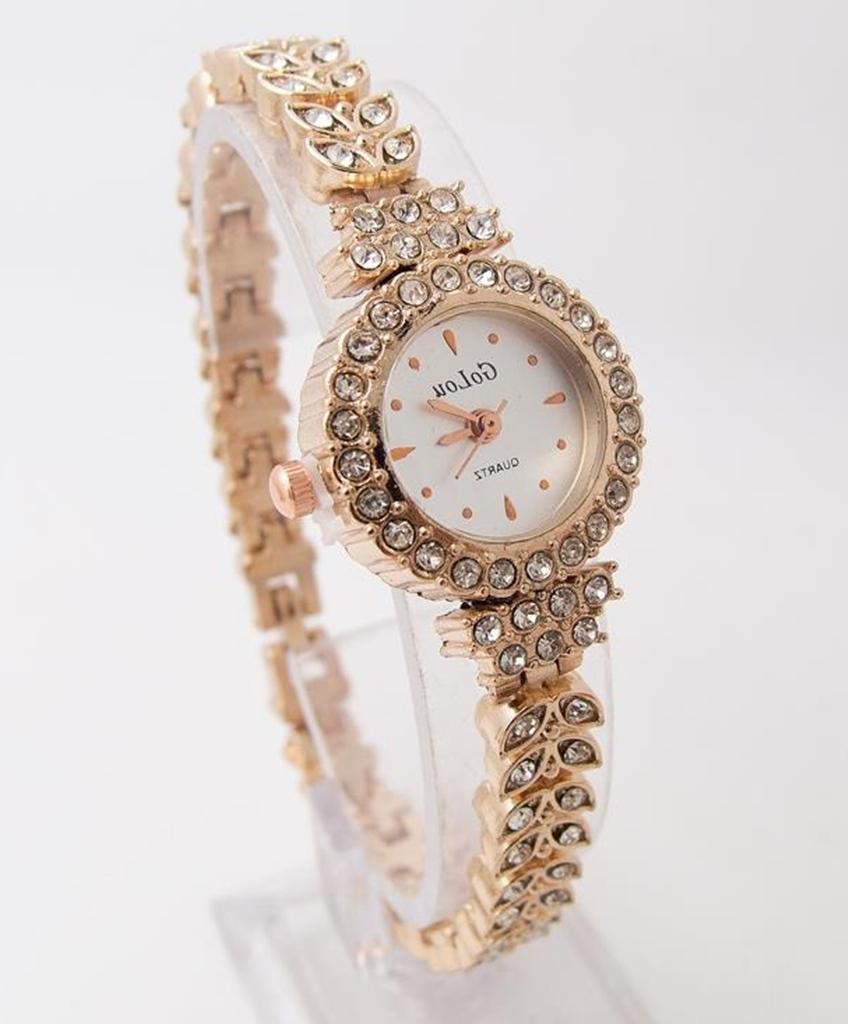 beyaz altın sarısı ince kordonlu taşlı kol saati sk41799