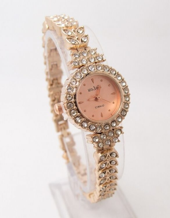 pembe altın sarısı ince kordonlu taşlı kol saati sk41799