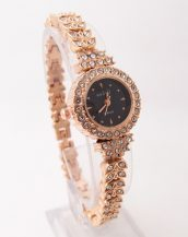 siyah altın sarısı ince kordonlu taşlı kol saati sk41799