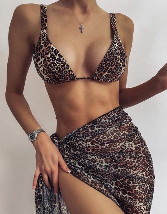 leopar 3 parça bikini takımı sk49409