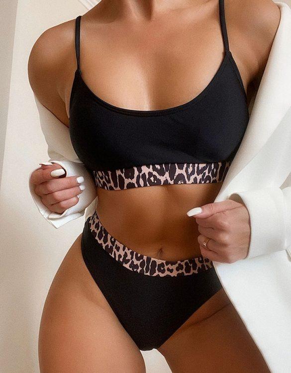 siyah leopar detaylı askılı bikini sk49386